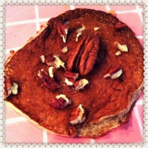 Mijn versie van de two-ingredient-pancakes met agave siroop en pecannootjes