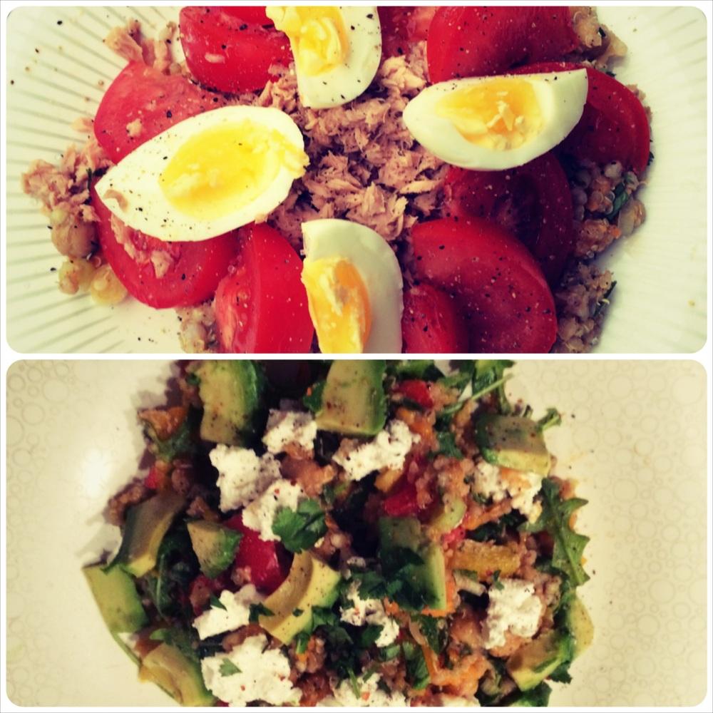 Suggesties voor de dagelijkse topping: tonijn, gekookt ei en tomaat (boven) avocado, geitenkaas, rucola en pijnboompitjes (onder).